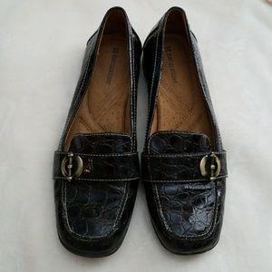 Dark brown faux crocodile shoes